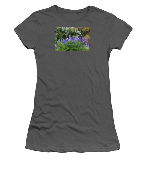 Women's T-Shirt (Junior Cut) featuring the photograph Silvery Lupine Black Canyon Colorado by Janice Rae Pariza