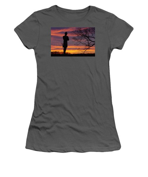 Women's T-Shirt (Junior Cut) featuring the photograph Sky Fire - 124th Ny Infantry Orange Blossoms-1a Sickles Ave Devils Den Sunset Autumn Gettysburg by Michael Mazaika