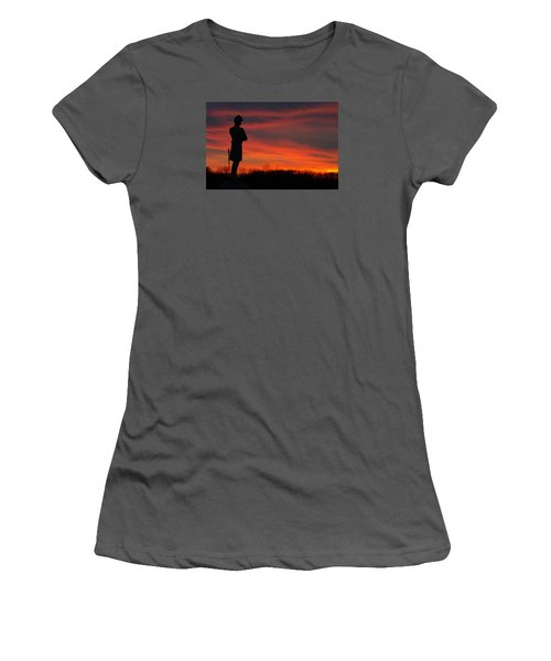Women's T-Shirt (Junior Cut) featuring the photograph Sky Fire - Aotp 124th Ny Infantry Orange Blossoms-2a Sickles Ave Devils Den Sunset Autumn Gettysburg by Michael Mazaika