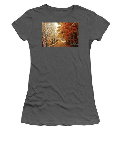 Snowy Autumn Road Women's T-Shirt (Athletic Fit)