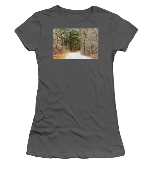 Snowy Tunnel Of Trees Women's T-Shirt (Athletic Fit)