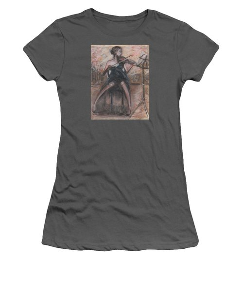 Women's T-Shirt (Junior Cut) featuring the painting Solo Concerto by Jarmo Korhonen aka Jarko