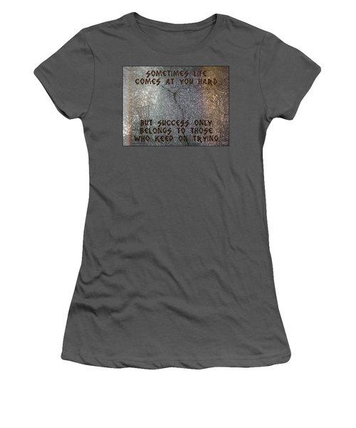 Women's T-Shirt (Junior Cut) featuring the digital art Sometimes Life Comes At You Hard by Absinthe Art By Michelle LeAnn Scott
