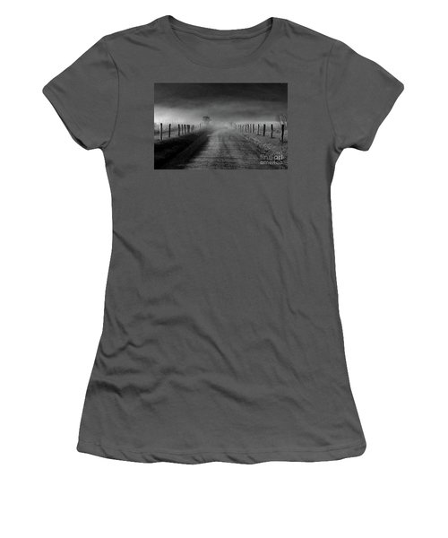 Sparks Lane In Black And White Women's T-Shirt (Junior Cut) by Douglas Stucky