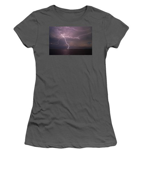 Spider Lightning Over Charleston Harbor Women's T-Shirt (Athletic Fit)
