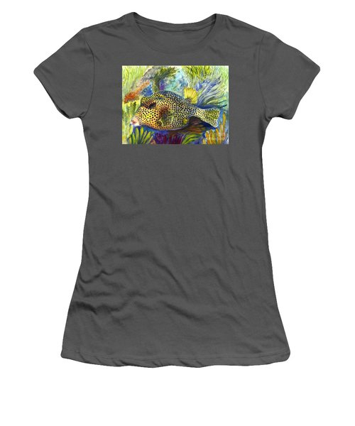 Women's T-Shirt (Junior Cut) featuring the painting Spotted Trunkfish by Carol Wisniewski