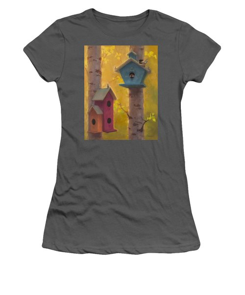 Spring Chickadees 2 - Birdhouse And Birch Forest Women's T-Shirt (Athletic Fit)