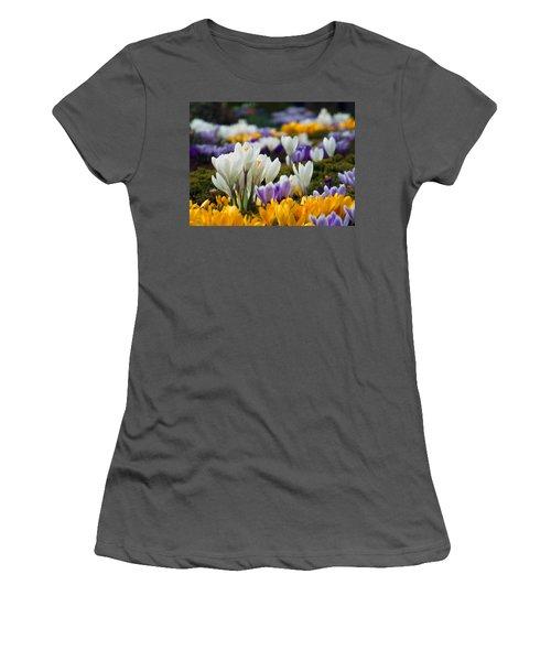Women's T-Shirt (Junior Cut) featuring the photograph Spring Crocus by Dianne Cowen