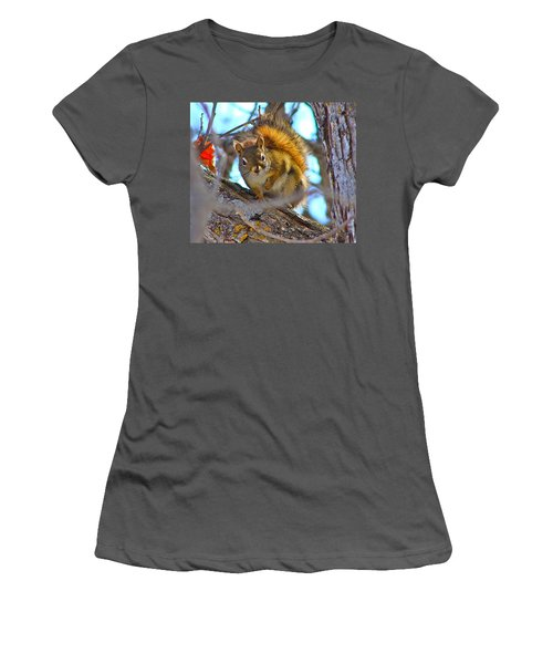 Women's T-Shirt (Junior Cut) featuring the photograph Squirrel Duty. by Johanna Bruwer