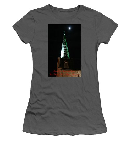 St. Augustine Moon Christmas Card Women's T-Shirt (Athletic Fit)