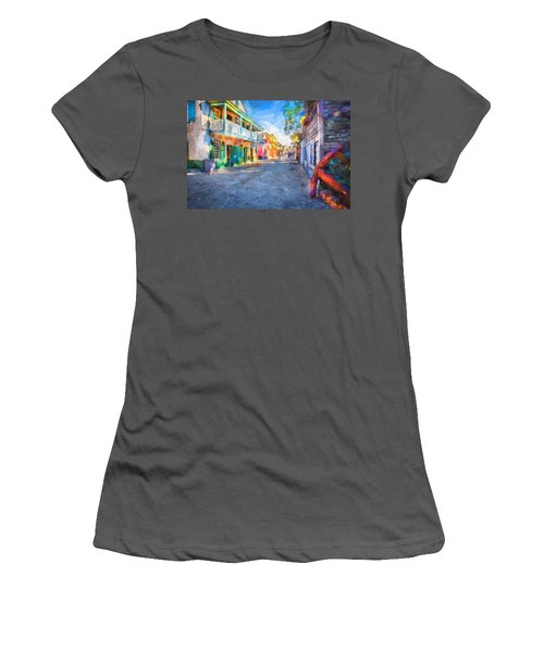 St George Street St Augustine Florida Painted Women's T-Shirt (Athletic Fit)