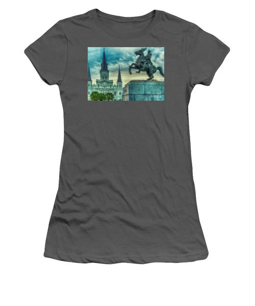 St. Louis Cathedral And Andrew Jackson- Artistic Women's T-Shirt (Athletic Fit)
