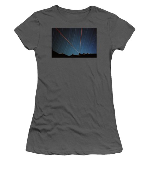 Star Trails Over Mauna Kea Observatory Women's T-Shirt (Athletic Fit)