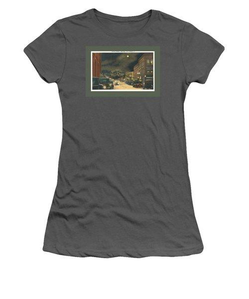 State Street Bristol Va Tn At Night Women's T-Shirt (Athletic Fit)