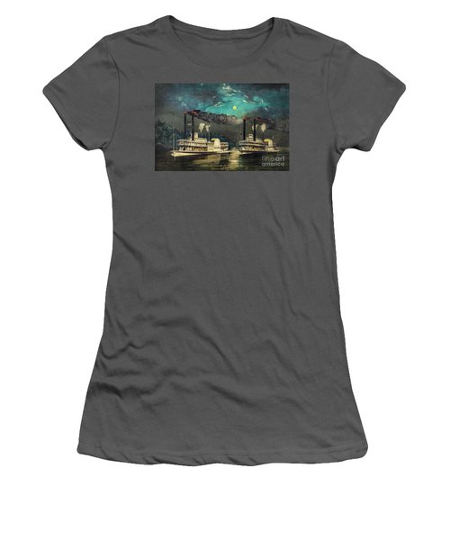 Women's T-Shirt (Junior Cut) featuring the digital art Steamboat Racing On The Mississippi by Lianne Schneider