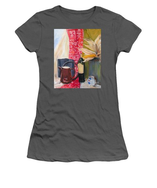 Still Life With Red Cloth And Pottery Women's T-Shirt (Junior Cut) by Greta Corens