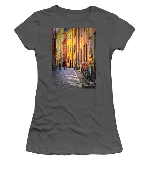 Stockholm Gamla Stan Painting Women's T-Shirt (Athletic Fit)