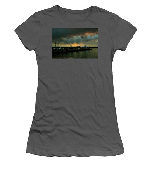 Storm Over National Harbor Oil Women's T-Shirt (Athletic Fit)