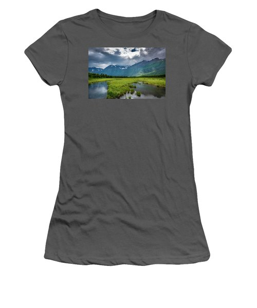 Storm Over The Mountains Women's T-Shirt (Junior Cut) by Andrew Matwijec