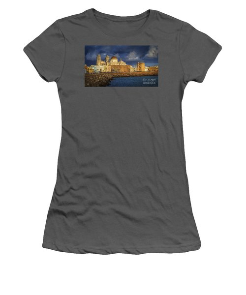 Stormy Skies Over The Cathedral Cadiz Spain Women's T-Shirt (Junior Cut) by Pablo Avanzini