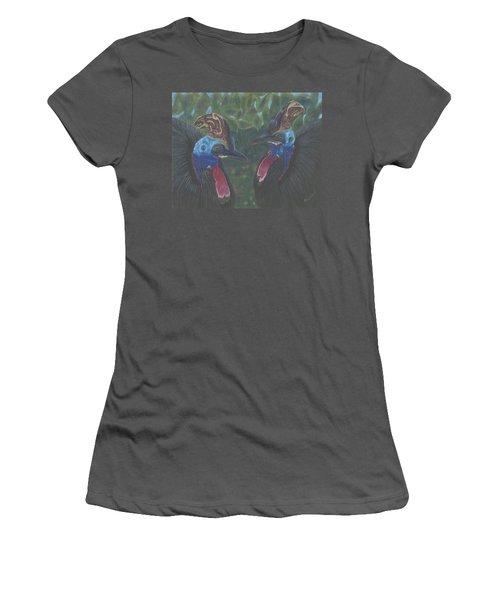 Women's T-Shirt (Junior Cut) featuring the drawing Strange Birds by Arlene Crafton