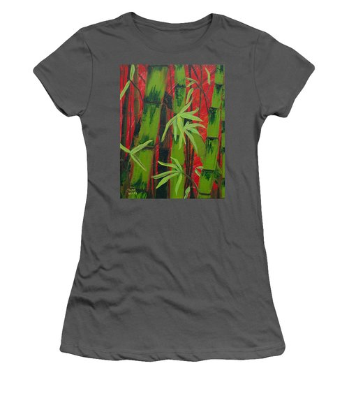 Sultry Bamboo Forest Acrylic Painting Women's T-Shirt (Athletic Fit)