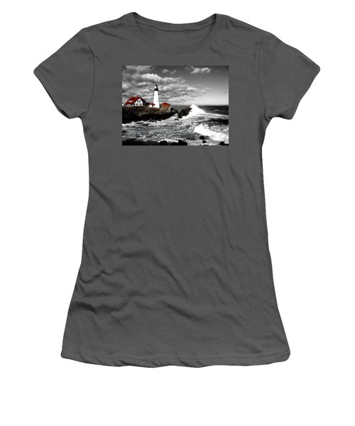 Summer Waves Red Stroke Bw Women's T-Shirt (Athletic Fit)