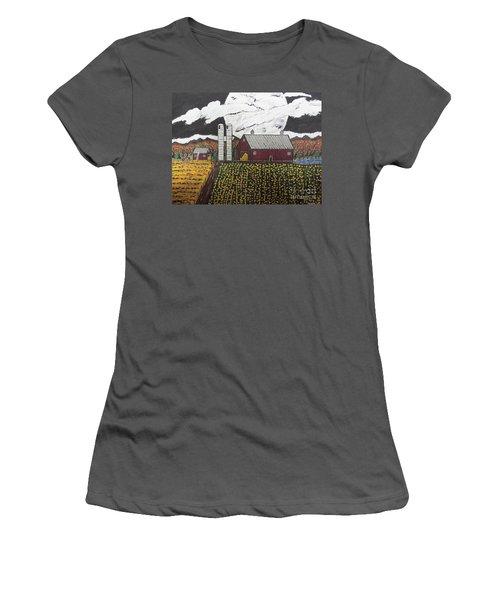 Women's T-Shirt (Junior Cut) featuring the painting Sun Flower Farm by Jeffrey Koss