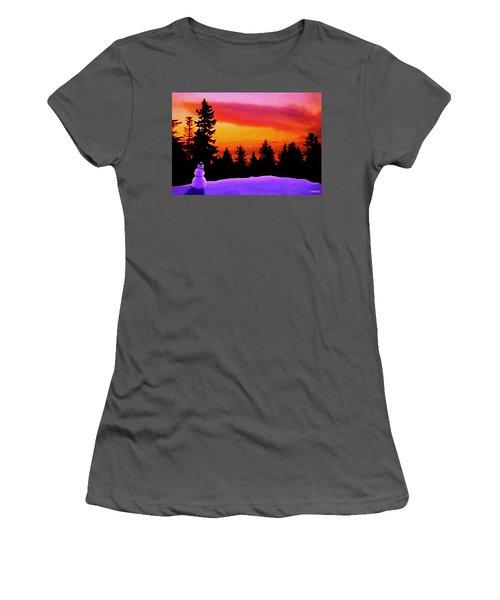 Sun Setting On Snow Women's T-Shirt (Junior Cut) by Sophia Schmierer