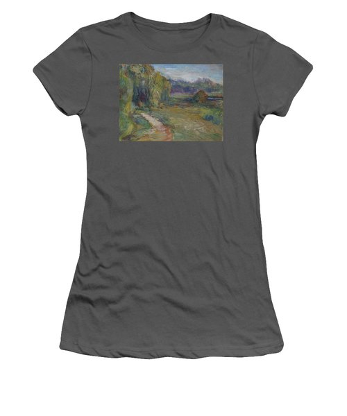 Sunny Morning In The Park -wetlands - Original - Textural Palette Knife Painting Women's T-Shirt (Athletic Fit)