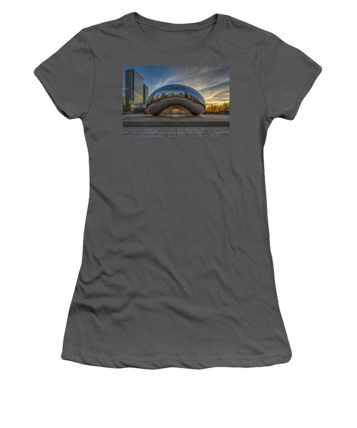 Women's T-Shirt (Athletic Fit) featuring the photograph Sunrise Cloud Gate by Sebastian Musial
