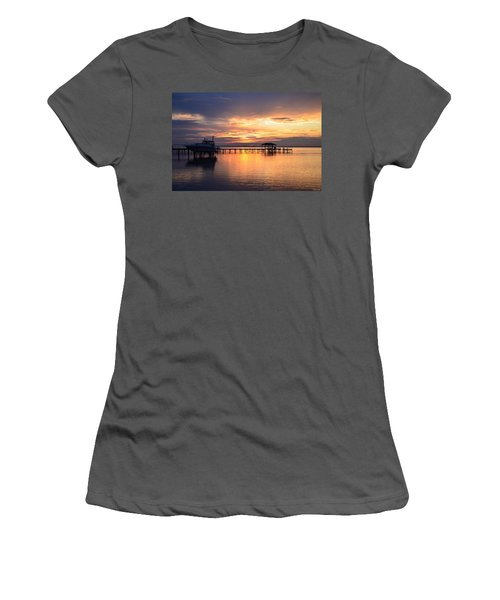 Women's T-Shirt (Junior Cut) featuring the photograph Sunrise Colors On The Sound by Jeff at JSJ Photography