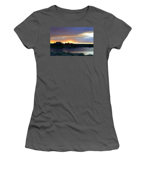 Women's T-Shirt (Junior Cut) featuring the photograph Sunrise Over Kinney Lake by Clarice  Lakota