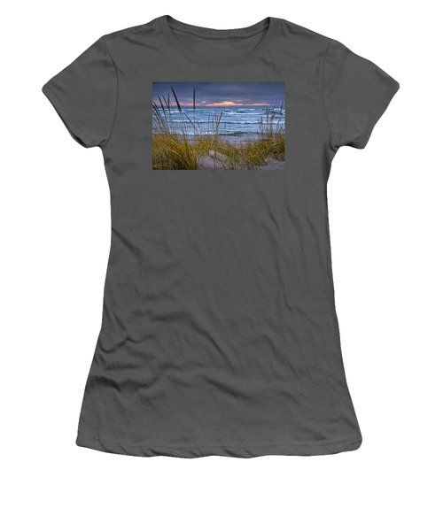 Sunset On The Beach At Lake Michigan With Dune Grass Women's T-Shirt (Junior Cut) by Randall Nyhof