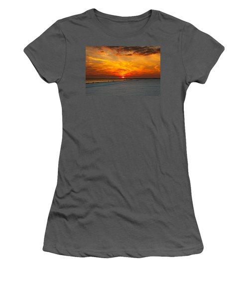 Women's T-Shirt (Junior Cut) featuring the photograph Sunset Beach New York by Chris Lord