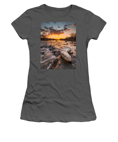 Sunset On River Women's T-Shirt (Junior Cut) by Davorin Mance