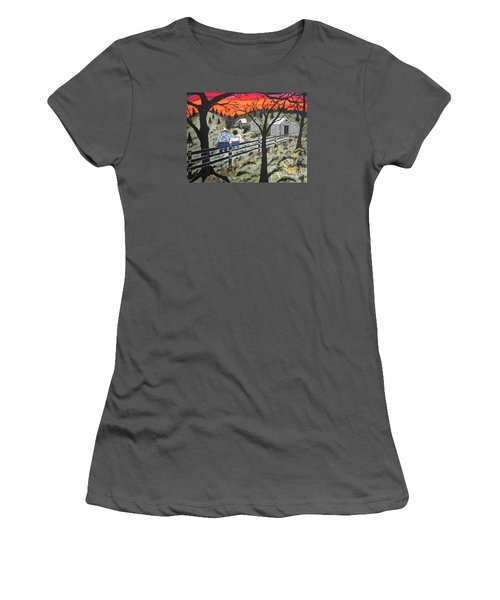Women's T-Shirt (Junior Cut) featuring the painting Sunset On The Fence by Jeffrey Koss