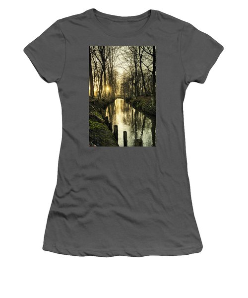 Sunset Over Stream Women's T-Shirt (Athletic Fit)