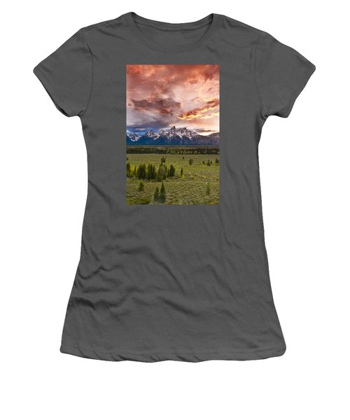 Sunset Over The Tetons  Women's T-Shirt (Athletic Fit)