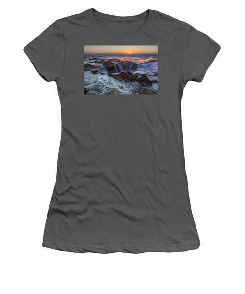Sunset Over Thor's Well Along Oregon Coast Women's T-Shirt (Athletic Fit)