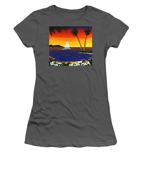 Women's T-Shirt (Junior Cut) featuring the painting Sunset Sails by Lance Headlee