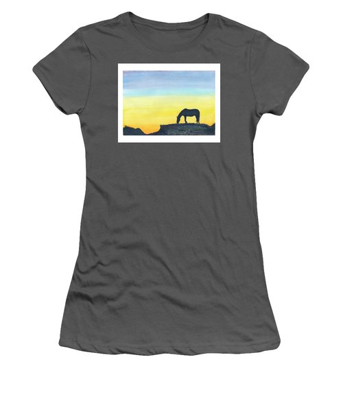 Women's T-Shirt (Junior Cut) featuring the painting Sunset Silhouette by C Sitton