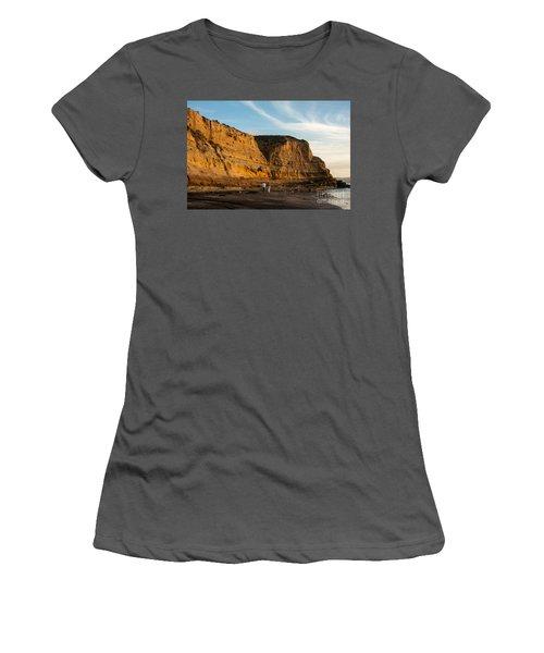 Sunset Walk At Flat Rock  La Jolla California Women's T-Shirt (Athletic Fit)