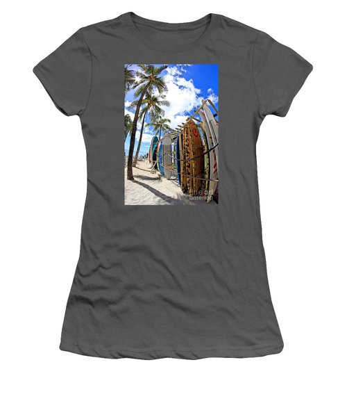 Surf And Sun Waikiki Women's T-Shirt (Athletic Fit)