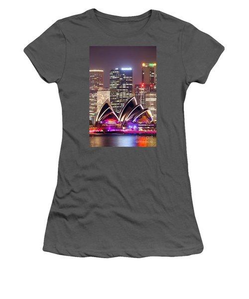 Sydney Skyline At Night With Opera House - Australia Women's T-Shirt (Athletic Fit)