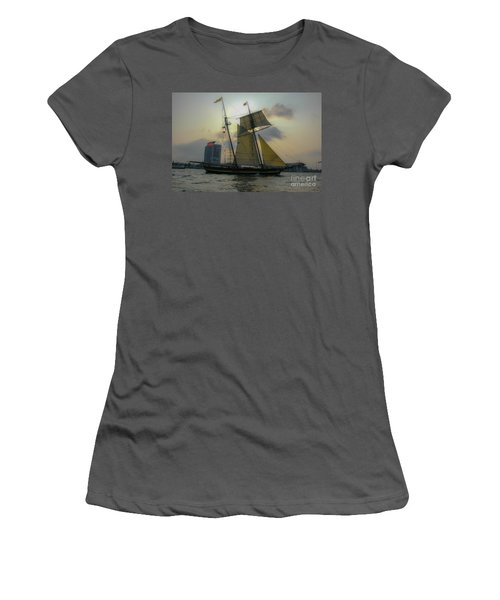 Women's T-Shirt (Junior Cut) featuring the photograph Tall Ship In Charleston by Dale Powell