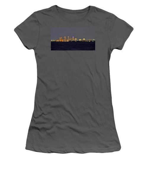 Women's T-Shirt (Junior Cut) featuring the photograph Tampa City Skyline At Night 7 November 2012 by Jeff at JSJ Photography
