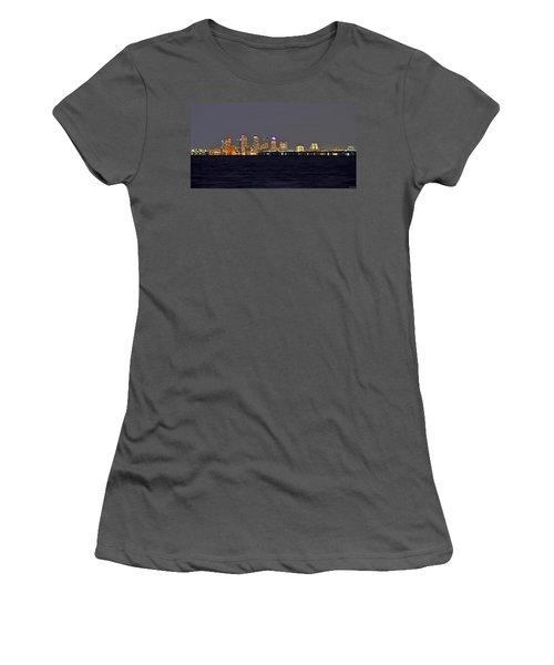 Tampa City Skyline At Night 7 November 2012 Women's T-Shirt (Junior Cut) by Jeff at JSJ Photography