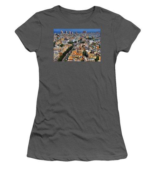 Women's T-Shirt (Junior Cut) featuring the photograph Tel Aviv Eagle Eye View by Ron Shoshani