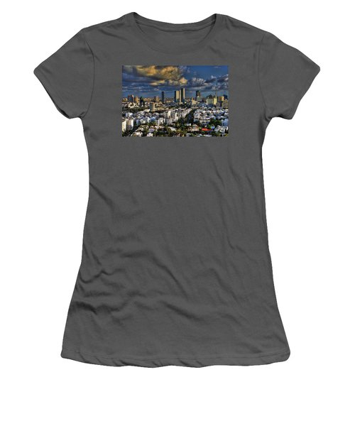 Women's T-Shirt (Junior Cut) featuring the photograph Tel Aviv Skyline Fascination by Ron Shoshani